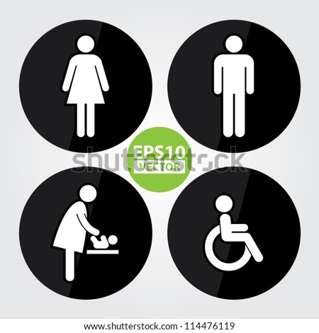 Black Circle Toilet Sign with Black Circle Background, Man Sign, Women Sign, Baby Changing Sign, Handicap Sign - EPS10 Vector - stock vector