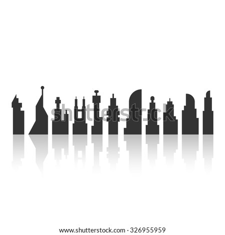 black city landscape with shadow. concept of megalopolis, tourism, futuristic metropolis, wallpaper, municipal. isolated on white background. flat style trend modern logo design vector illustration - stock vector