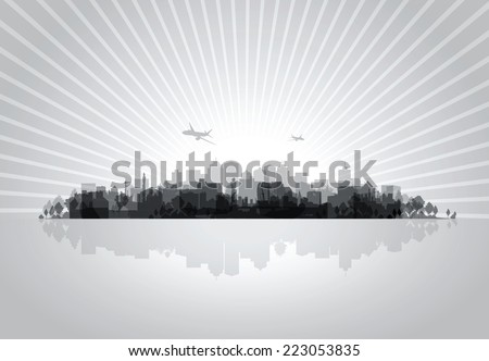 black cityscape overprint background - stock vector