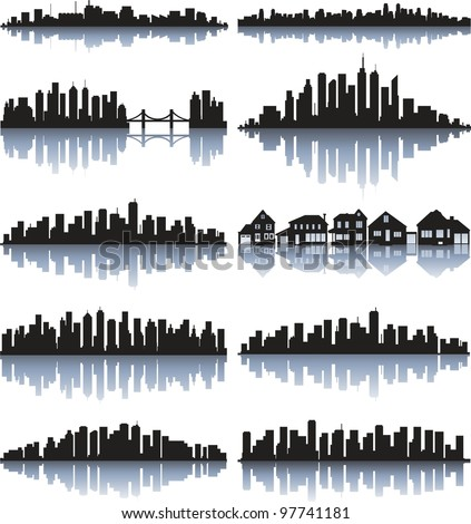 Black cityscape silhouette with reflection - stock vector