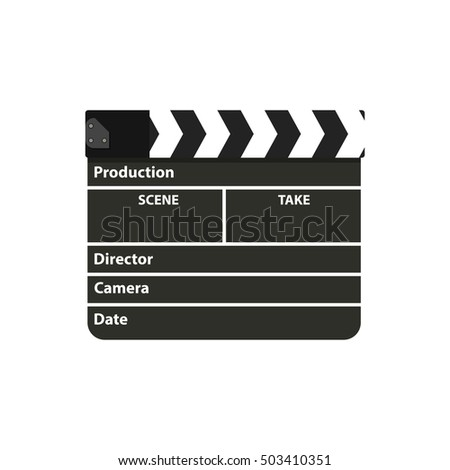 Black clapperboard. Movie clapper board. vector illustration in flat style on white background