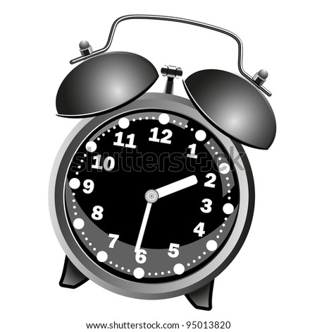 Black classic alarm clock on a white background.