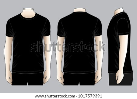 Black classic t shirt vector template front back stock vector black classic t shirt vector for templatefrontback and side views maxwellsz