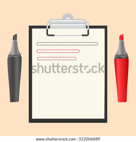 Black clipboard with a blank sheet of paper and a marker, isolated on a bright background.Vector Illustration - stock vector