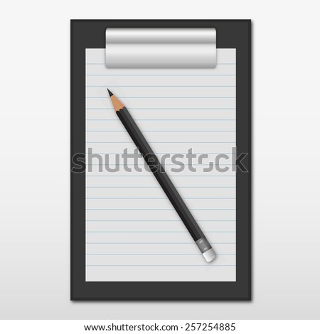 Black clipboard with a pencil on a white background - stock vector
