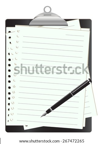 Black clipboard with white paper on white and pen ,Vector illustration - stock vector