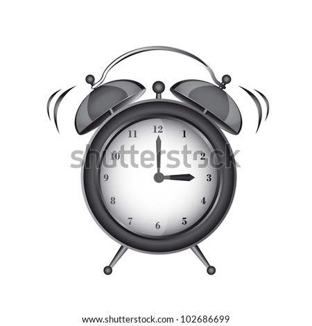 black clock alarm isolated over white background. vector - stock vector