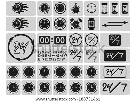 Black clocks icons in the gray squares, arrows, 24 hours a day and 7 days a week, hand drawn digits, signs set, vector illustration - stock vector