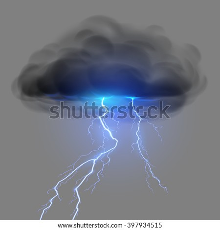 Black cloud with lightning - stock vector