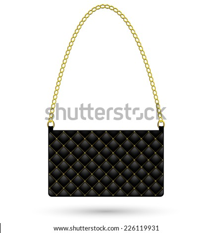 Black clutch bag with gold for women isolated on white background - stock vector