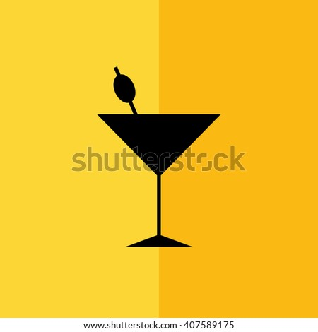 Black cocktail glass vector icon silhouette illustration. Yellow background