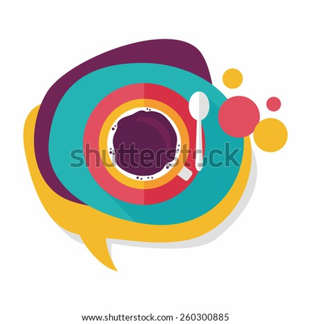 black coffee flat icon with long shadow,eps10 - stock vector