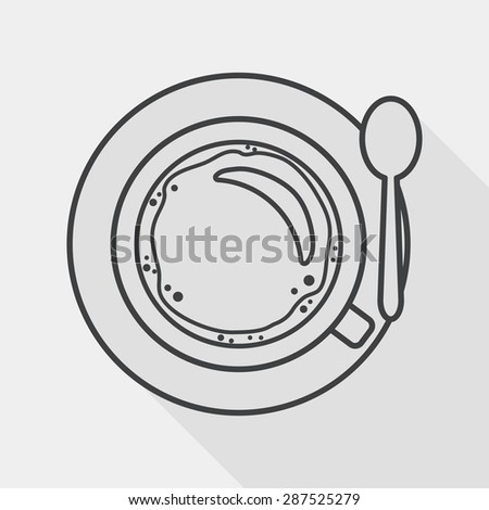 black coffee flat icon with long shadow, line icon - stock vector