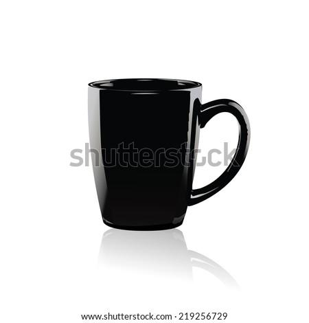 Black coffee mug vector on white background. - stock vector