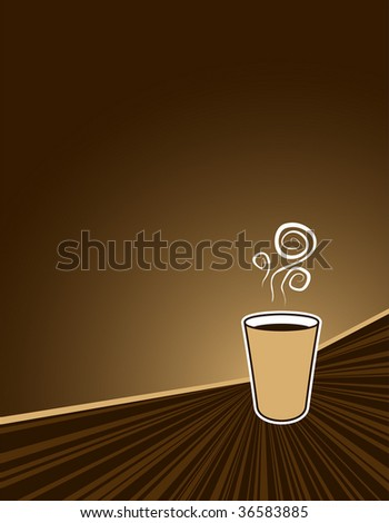 black coffee to go on coffee colored background with copy space - stock vector