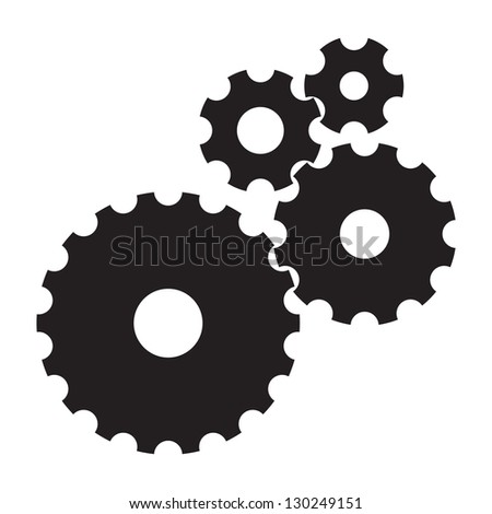 black cogs (gears) on white background - stock vector