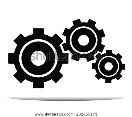 black cogs  on white background - stock vector