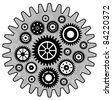 Black Cogwheel set - stock vector