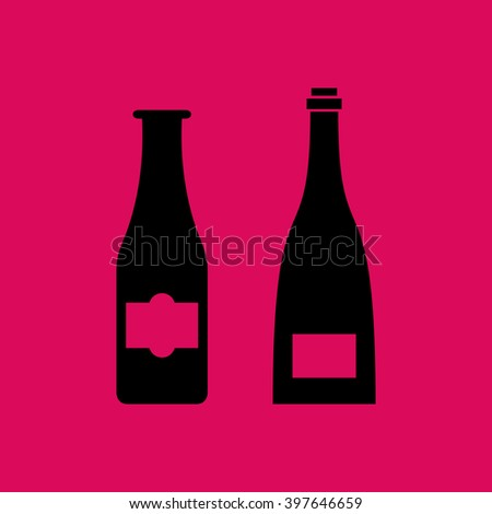 Black Colored Beer Bottle Icon. Eps-10.
