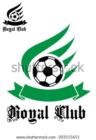 "Black colored football or soccer ball logo with green wave and text ""Royal Club"" isolated on white background for sports design - stock vector"
