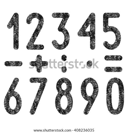 Black colored shabby old numbers and mathematical symbols set isolated on white background. Design elements - stock vector