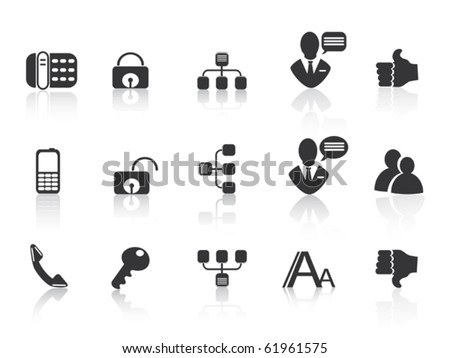 black Communication icons - stock vector