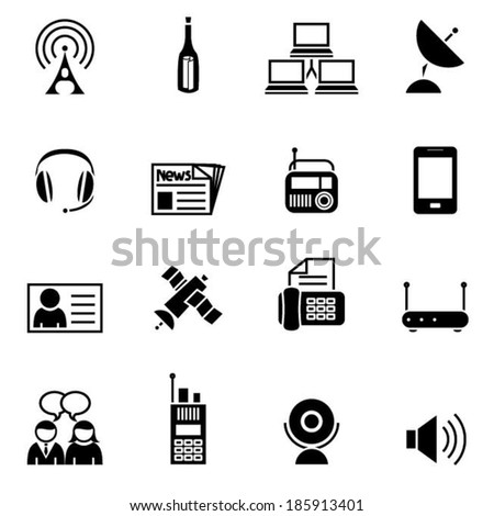 Black communication set  icon - stock vector