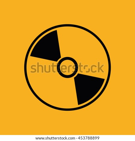 Black compact disc icon. CD / DVD vector illustration. Yellow background - stock vector