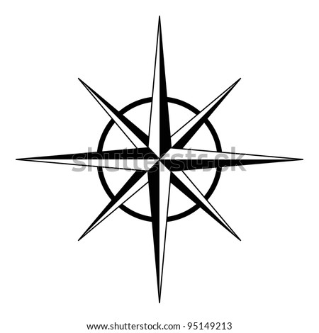 Black compass rose - vector - stock vector