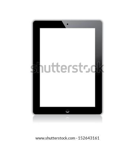 black computer tablet touchscreen. vector realistic illustration. eps10 - stock vector