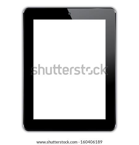 black computer tablet. vector realistic illustration. eps10 - stock vector