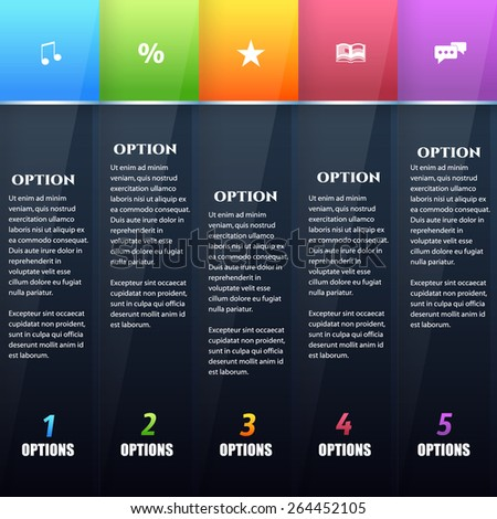 Black Content Layers and Multicolored Title Style Infographics Template  - stock vector