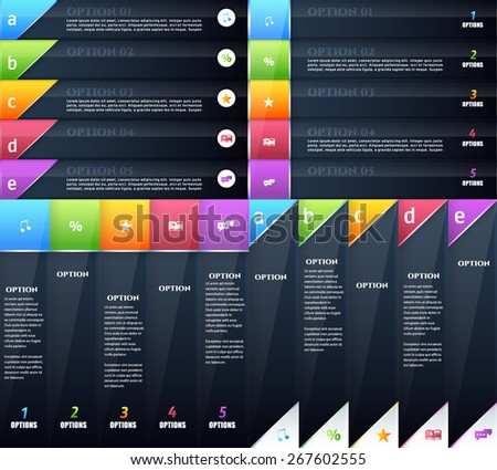 Black Content Layers and Multicolored Title Style Infographics Template Set - stock vector