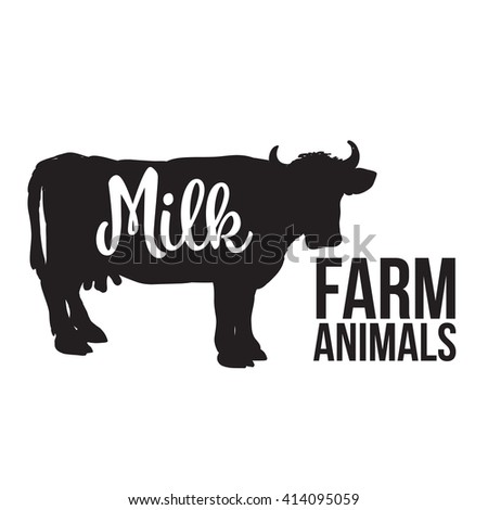 black contour cow farm with a white inscription inside, vector cow animal, cattle, horned animal, domestic cow, food, animal outline for the product with lettering on the beef meat - stock vector