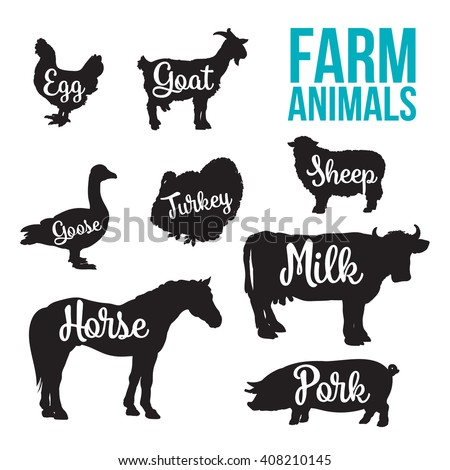 Black contour farm animals with a white inscription inside, vector set of different animals, cattle, poultry, horned animal, domestic goose, food, animal outline for the product, farm animals letter - stock vector