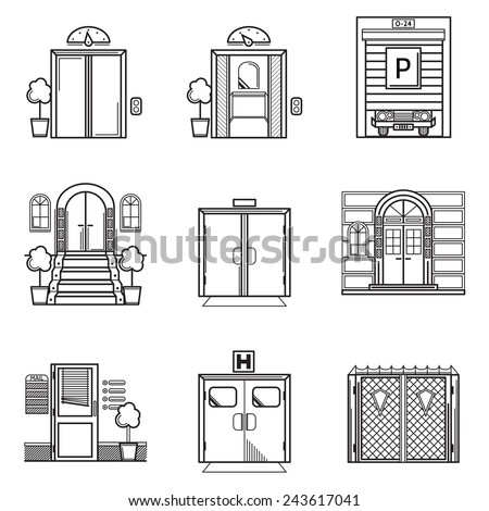 Black contour vector icons for door. Set of black contour vector icons for different doors on white background. - stock vector