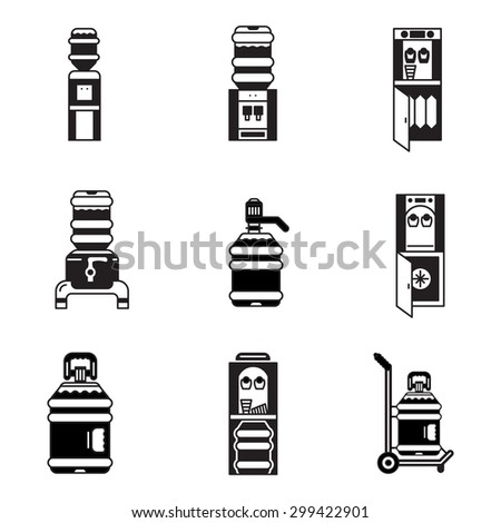 Black contour vector icons for water cooler elements. Electric water cooler, purifier, water delivery, plastic bottles for office, home and business. - stock vector