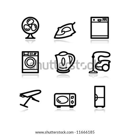 Black contour web icons, set 18 - stock vector