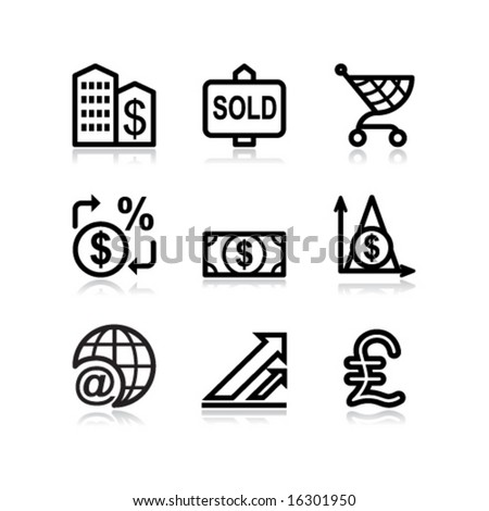 Black contour web icons, set 23 - stock vector