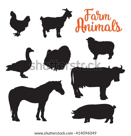 Black contours drenched farm animals, goose cow horse pig and goat kurischtsa turkey, vector animals isolated on white background set of different animals bird cattle, black logos and icons - stock vector