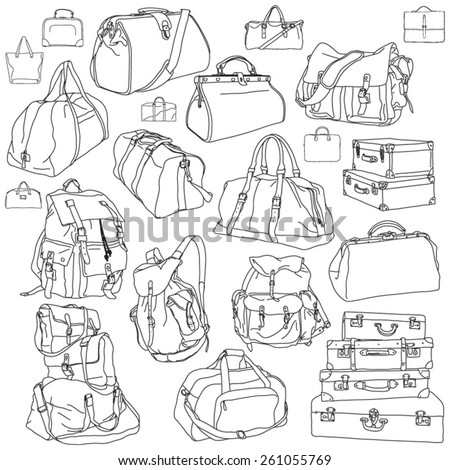 Black contours of different travel bags and suitcases - stock vector