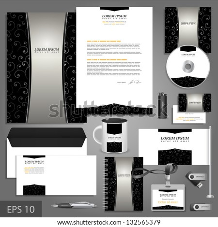 Black corporate identity template with pattern. Vector company style for brandbook and guideline. EPS 10 - stock vector