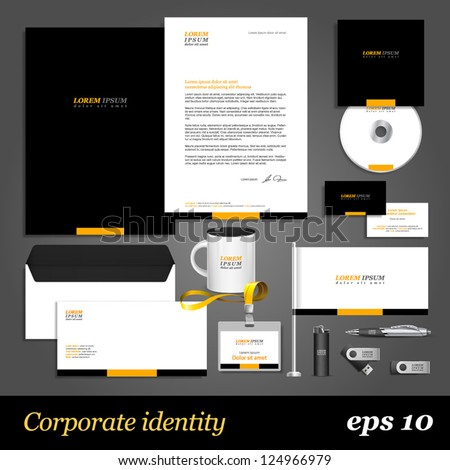 Black corporate identity template with yellow elements. Vector company style for brandbook and guideline. EPS 10 - stock vector