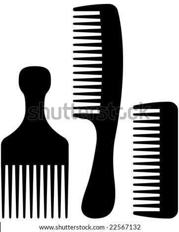 black cosmetic comb icon set - stock vector