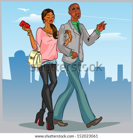 Black couple walking down the street. - stock vector
