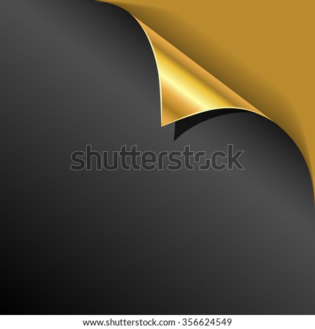 Black cover page gold corner curl vector template. - stock vector