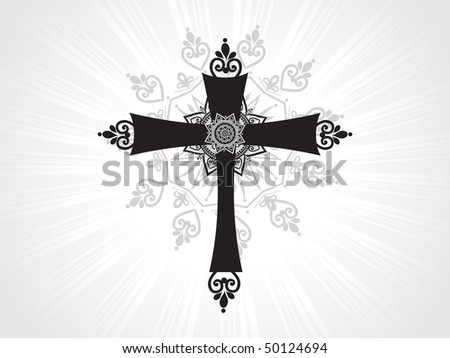black creative pattern isolated cross with grey rays background - stock vector