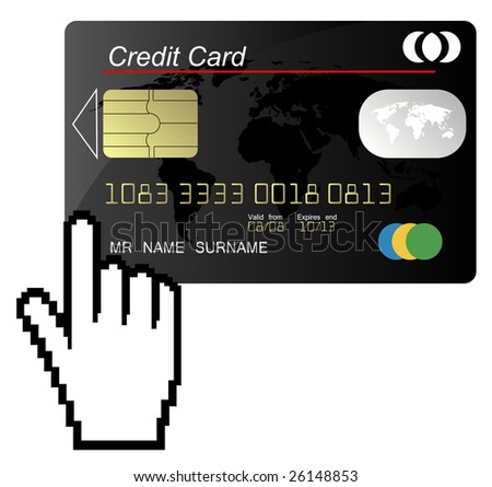 Black credit card vector with hand cursor - stock vector