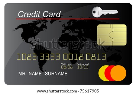 Black credit card vector with security key - stock vector