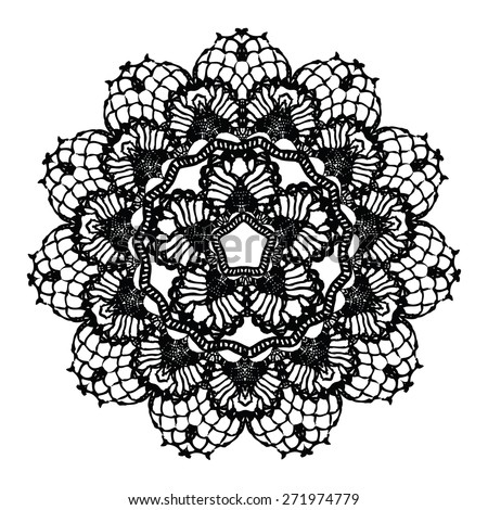 Black crochet doily. Vector illustration. May be used for digital scrap booking. - stock vector